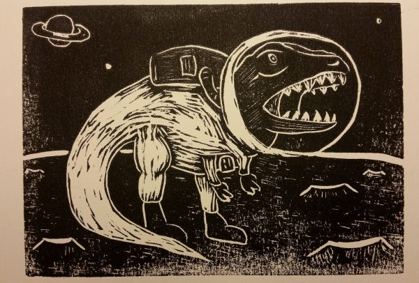 Dinonaut linocut print