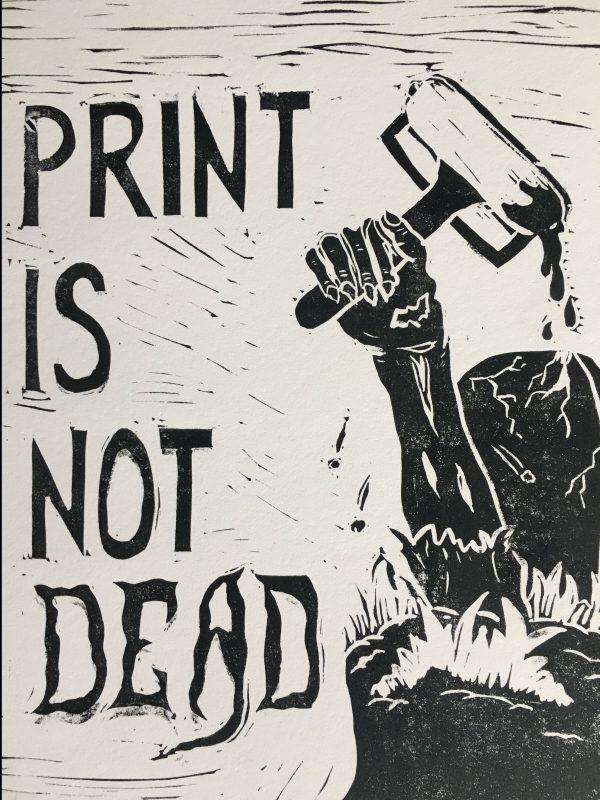 Print is Not Dead zombie linocut print