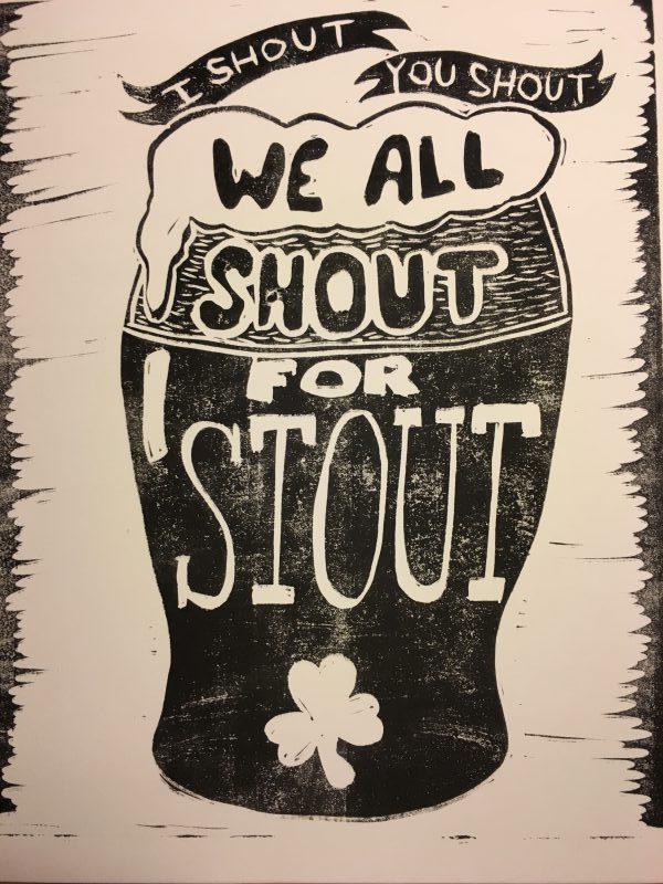 Stout linocut print