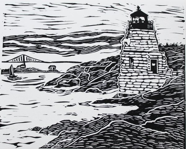 Castle Hill Lighthouse Rhode Island linocut print