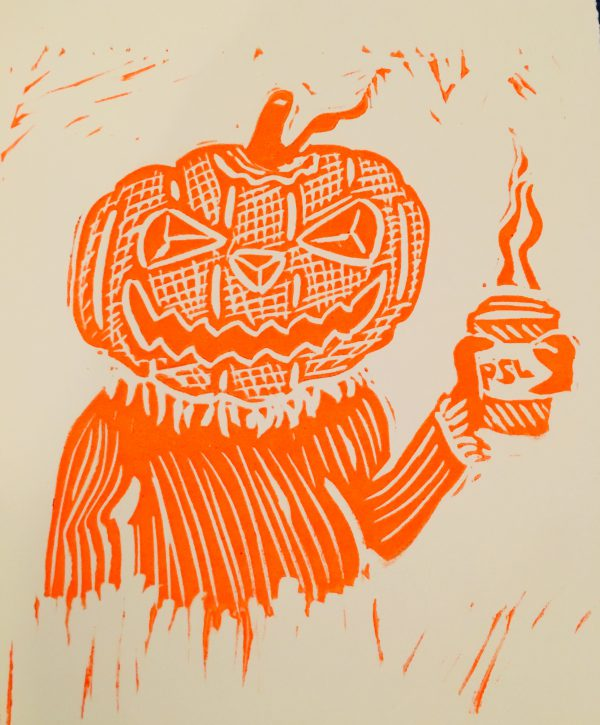 Spicy - Pumpkin head linocut print in orange